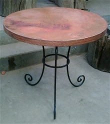 rustic kitchen table made of copper